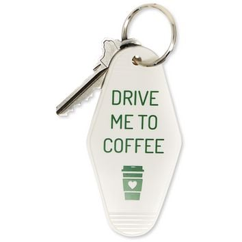 Drive Me To Coffee Motel Keychain in White