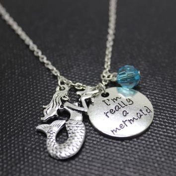 """New arrival 12pcs/lot personalize Necklace """"I'm Really A Mermaid""""crystal necklace antique silver Mermaid charm Pendant Necklaces"""