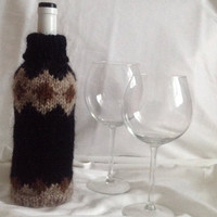 wine bottle covers, handmade, knitted, gift idea, sweater, Icelandic wool, home decoration, decoration, housewarming gift, wine bottle decor