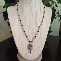 Pink Feldspar semi precious gem and Black faceted crystal Necklace Pendant Women Girls Jewelry Chic Bohemian Silver