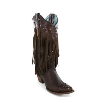 Corral Brown Sierra Fringe & Studded Leather Snip Toe Boots C1185