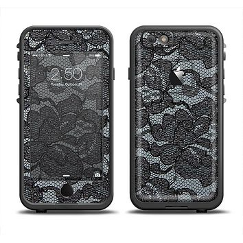The Black Lace Texture Apple iPhone 6 LifeProof Fre Case Skin Set