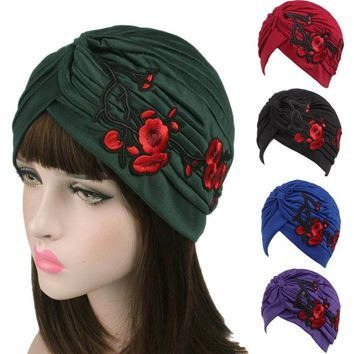 New Arrival Knitted hat Women Embroidery Hats 9 Colors Cancer Chemo Hat Beanie Scarf Turban Head Wrap Cap