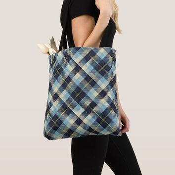 Black Plaid Pattern All-Over-Print Tote Bag