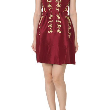 ARLIE Cap Sleeve Embroidery Dress in Red