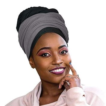 🎁 ONE DAY SALE Novarena 2 Pcs Black and Heather Grey Solid Color Head Wrap Stretch Long Hair Scarf Turban Tie Kente African Hat Jersey Knit Headwrap