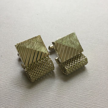 Gold Wash Cuff Links Mesh Wrap Design