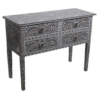 Nadia Mother-of-Pearl Console Table in Light Grey