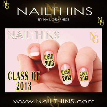 CLASS OF 2013 Blue and Yellow Graduation  Nail by NailGraphics