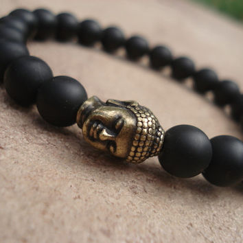 Matte Black Onyx Bracelet with Antique Brass Buddha, for Him