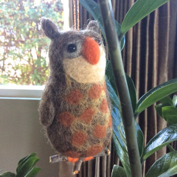 Needle felted owl needle felted bird Christmas ornament bird figurine felting bird one of a kind OOAK unique gift decoration fiber wool owl