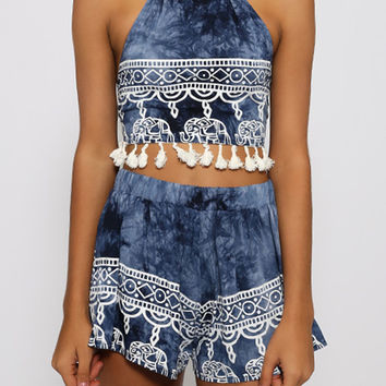 Sexy Women's Clothing Blue Halter Backless Tassel Top With Shorts