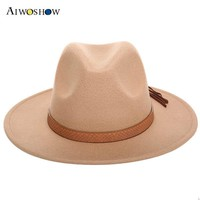 2017 Retro Women Fedora Felt Hat For Women Ladies Fedoras Autumn Winter Jazz Hat Imitation Woolen Flat Brim Bowler Church Hat