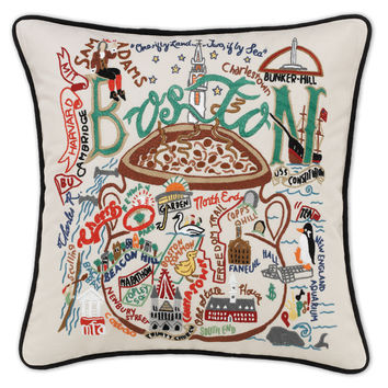 Boston Hand Embroidered Pillow