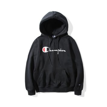 Champion couple sets the head sweater couple models Plus velvet hooded sweater simple printing class service Black