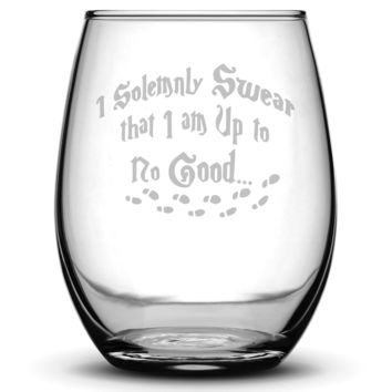 Premium Wine Glass, Harry Potter, I Solemnly Swear that I am Up to No Good, 15oz