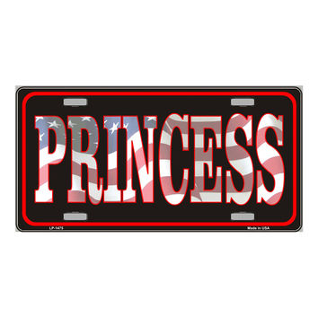 Smart Blonde Princess Patriotic Vanity Metal Novelty License Plate Tag Sign