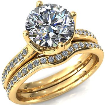 Carly Round Moissanite Royal Net Crown Diamond Channel Set Ring
