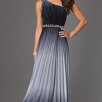 One Shoulder Floor Length Ombre Dress