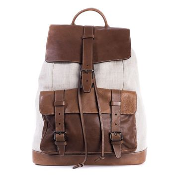Brunello Cucinelli Brown Canvas And Textured Leather Backpack