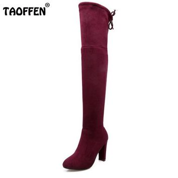 TAOFFEN Women Stretch Faux Suede Slim Thigh High Heel Boots Sexy Over the Knee Boots High Heels Woman Shoes Black Gray Winered