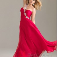 A-Line One Shoulder Chiffon Red Plus Size Prom Dress/Evening Gowns With Beading VTAU0241691