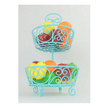 Wire Basket Mint Robins Egg Blue Table Centerpiece Kitchen Decor Fruit Bowl Aqua Bathroom Toiletries Hairbrush Comb Remote Control Storage