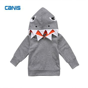 Child Top Cotton Cool Fashion Toddler Kids Boys Shark Hooded Tops Hoodie Jacket Coat Outerwear New Hot Autumn & Winter Clothes
