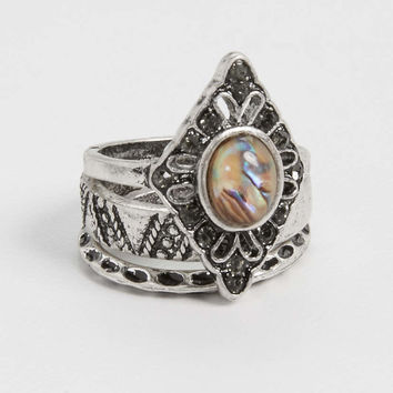 ring trio with abalone shell ring | maurices