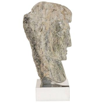 "Pre-owned 1960's Sculpture In Veined Alabaster - ""Faces"""