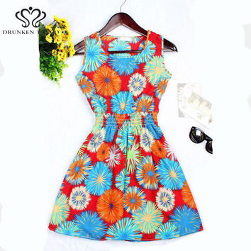 DrunkenTango stars 20 Colors Fashion Women New Sleeveless Florals Print Round Neck Dress 2016 Saias Femininas Summer Clothing