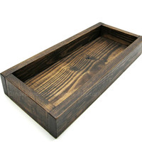 Dark Wooden Shallow Centerpiece Box or Small Wood Tray - Wide Box with Low Walls - Wooden Pillar Candle Holder - Coffee Table Box