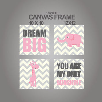Canvas set of 4 - 1 1/4'' deep frame- You are my sunshine Dream big elephant giraffe nursery wall art-ready to hang