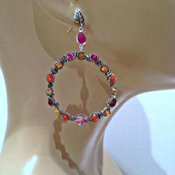 HOLIDAY SALE Big Hoop Earring  Wire Wrapped Gemstone Sterling Silver Coiled Statement Hoop Earrings, Colorful Gemstone Earrings