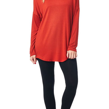 82 Days Women'S Rayon Span Long Sleeves Jersey Top - Solid