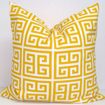 YELLOW OUTDOOR Indoor PILLOW.18x18 inch Decorator Pillow Cover.Printed Fabric Front and Back.Outdoor Cushion.46 cm