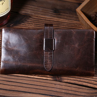 fashion retro genuine leather long wallet handmade card hold purse gift 09