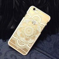 Plastic iPhone 6 Case, Clear iPhone 6 plus Cover with  Lace Print, Bohemian Phone Cover, Mandala Print Cover, Henna Case, Ethnic iPhone Case = 5987513281