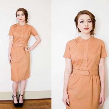 Vintage 1960s Dress - Tan Cotton Wiggle Day Dress Bobbie Brooks 60s - Small