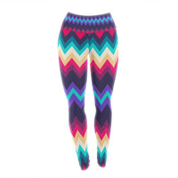 "Nika Martinez ""Surf Chevron"" Yoga Leggings"