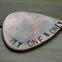 CUSTOM GUITAR Pick-Handstamped Copper-Great Gift for Fathers Day, Husband, Boyfriend, Dad, Groomsmen
