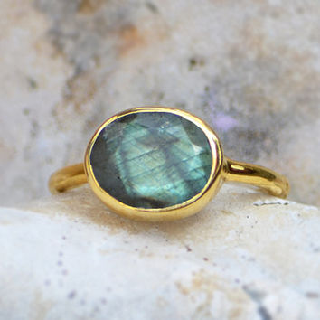 Faceted Labradorite oval stacking bezel set ring - available in Vermeil Gold , Sterling Silver or Oxidized Silver