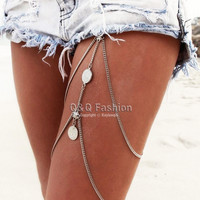 Vintage Silver Gypsy Coin Thigh Harness Bikini Garter Stretch Body Leg Chain Jewelry