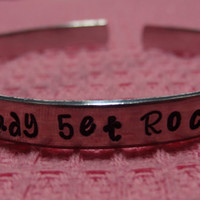 Ready 5/Set Rock (R5) Hand Stamped Metal Cuff Bracelet