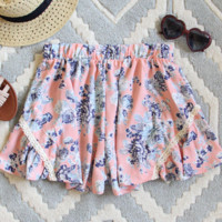 Peach Blue Floral Lace Shorts