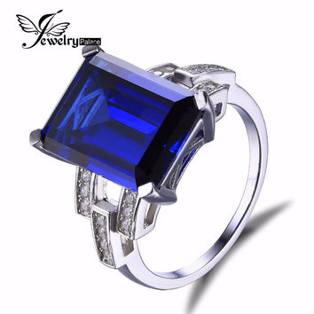 JewelryPalace Luxury Emerald Cut 9.6ct Created Blue Sapphire Cocktail Ring Genuine 925 Sterling Silver Jewelry Engagement Ring