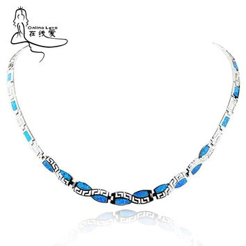 Vintage Blue Opal Silver Necklace 2016 New Trendy Link Chain Necklaces & Pendants Best Love Gift  Bussiness Women Jewelry XL001