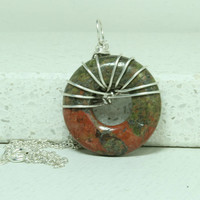Unakite pendant sterling silver Wire wrapped jewelry