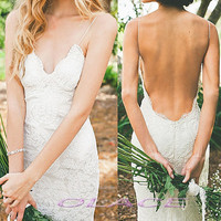 Hot Sexy Backless Very Low Open Back Lace Wedding Dress Bridal Halter Beach Wedding Gown Romantic Country Wedding Dresses