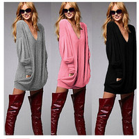 Winter Stylish Casual V-neck Tops Long Sleeve T-shirts [7322491329]